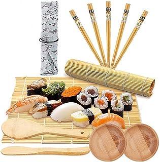 LONGCHAO 12PCS Sushi Set, Bambus Sushi Matte, Sushi Maker Se