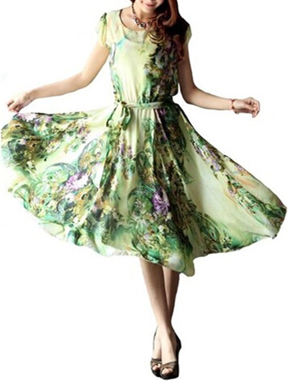 LIMATRY Summer Fashion New Women Slim Print Dress