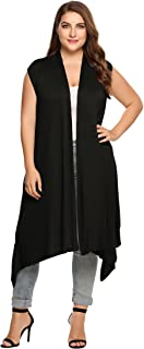 Zeagoo Womens Plus Size Sleeveless Cardigan Sweater Vest Solid Asymetric Hem Open Front Soft Long Maxi Cardigan