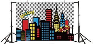 Yeele 5x4ft Cartoon Comic Super Hero City Photography Backdrop Vinyl Humor Abstract Superhero Baby Shower Photo Background for Girl Birthday Party Photo Video Shoot Studio Prop Wallpaper