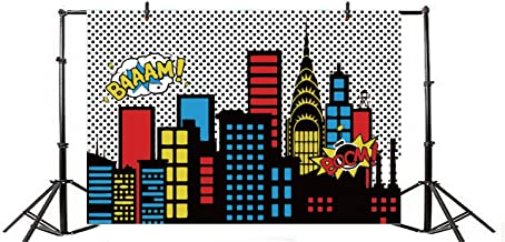 Yeele 8x6ft Cartoon Comic Super Hero City Photography Backdrop Vinyl Humor Abstract Superhero Baby Shower Photo Background for Girl Birthday Party Photo Video Shoot Studio Prop Wallpaper