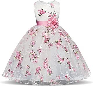 Girls Flower Printing Chiffon Princess Holiday Dresses