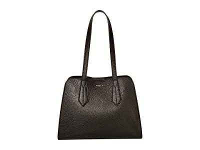 Furla Diletta Large Satchel (Onyx) Handbags