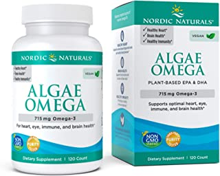 Nordic Naturals Algae Omega - 715 mg Omega-3-120 Soft Gels - Certified Vegan Algae Oil - Plant-Based EPA & DHA - Heart, Ey...