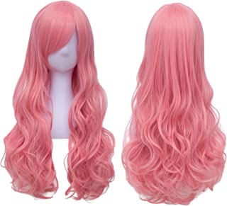Pink Hair Wigs for Women Long Curly Wavy Cosplay Party Wig Heat Resistant Harajuku Lolita Costume Wigs BU138PK