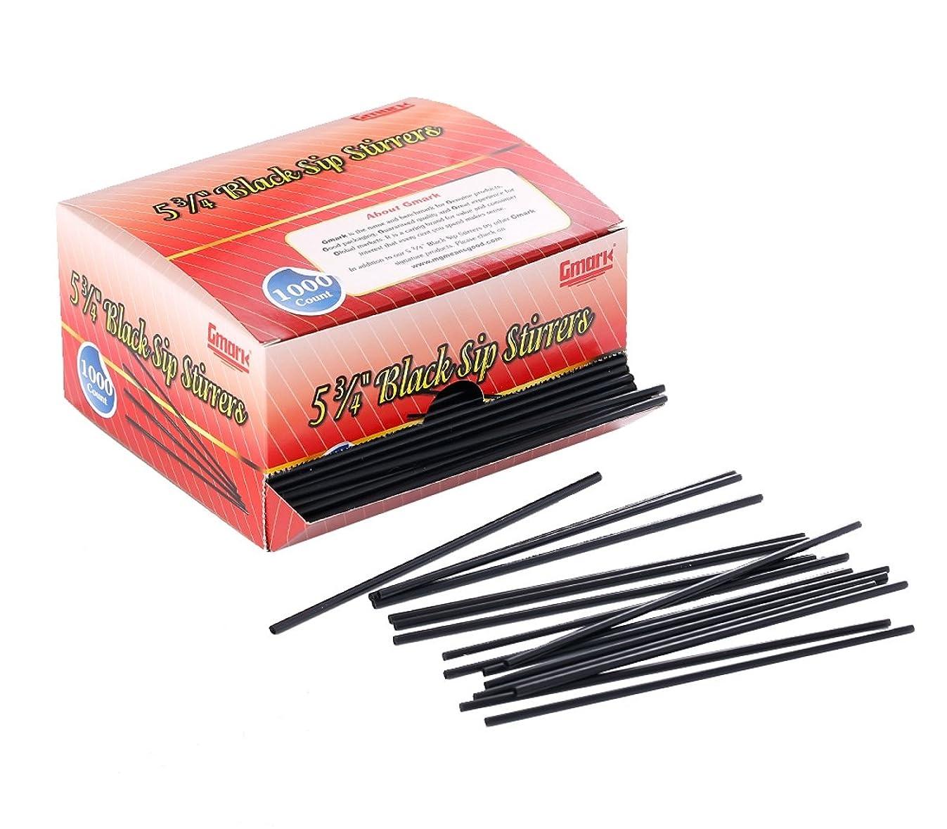 Gmark Plastic Stirrer, Sip Stirrer, Drink Stirrer Straws Black, Stir Sticks - Perfect For Coffee and Cocktail Beverage 5-3/4 Inches 2000 pcs (2 Boxes of 1000) GM1001a