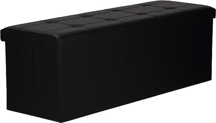 Levivo 331800000140 panca pieghevole e imbottita con box, finta pelle, nero, 110x38x38 cm
