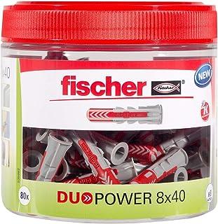 Fischer DUOPOWER 8 x 40, handige ronde doos met 80 universele pluggen, krachtige 2-componenten pluggen, kunststof pluggen ...