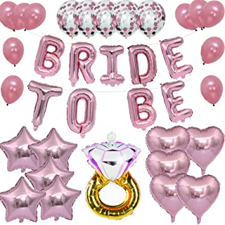 Bride to Be Rose Gold Bridal Shower Decorations - Bridal Shower Party | 16 inch Mylar Foil Letter Balloons |Diamond Engagement Wedding Ring + Extra Pack of 25 Balloons with Ribbon