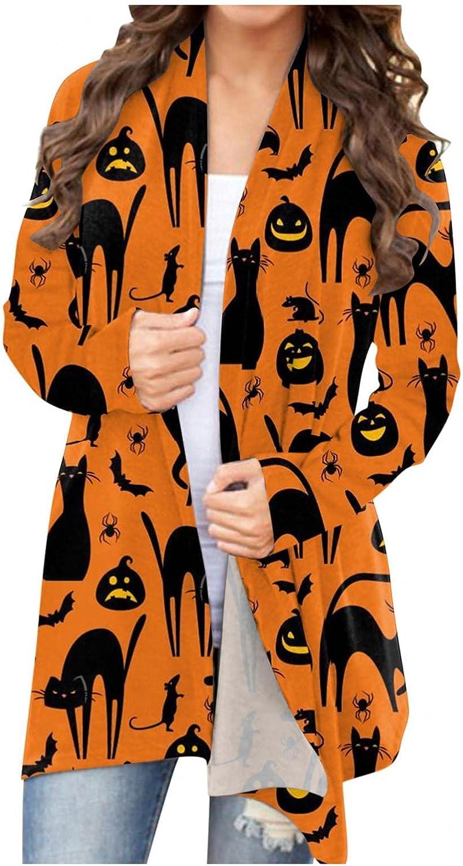 AODONG Sweaters for Women Halloween Long Sleeve Open Front Cardigan Cute Pumpkin Black Cat Graphic Soft Lightweight Tops