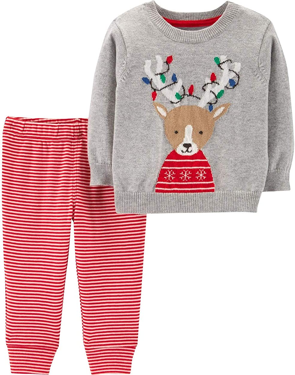 Carter's Baby 2-Piece Reindeer Sweater & Striped Pant Set Size 9 Months Gray/Red
