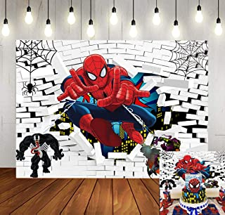 Cartoon Spiderman Backdrops Superhero White Brick Wall Boys Children Birthday Party Photography Background Superhero Super City Baby Shower Kids Photo Studio Booth Props 7X5FT