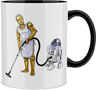 OKIWOKI Taza Negra Star Wars humorística con R2-D2 y C-3PO (Parodia de Star Wars) (Ref:642)