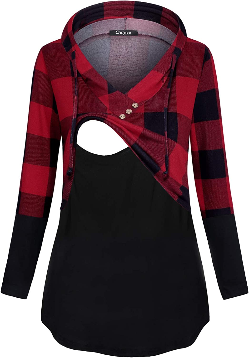 Quinee Women's Long Sleeve Plaid Hoo Attention brand Nursing Pullover Colorblock 2021 spring and summer new