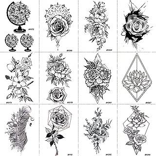 12 Pieces/Lot 3D Black Henna Rose Flower Temporary Tattoo Stickers Cover Women Custom Tattoos Blossom DIY Sexy Fake Waterproof Tatoos Paste 10x6CM
