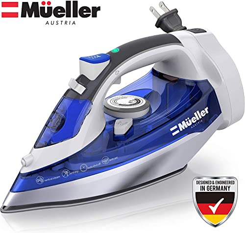 Mueller Professional Grade Steam Iron, Retractable Cord for Easy Storage, Shot of Steam/Vertical Shot, 8 Ft Cord, 3 W...