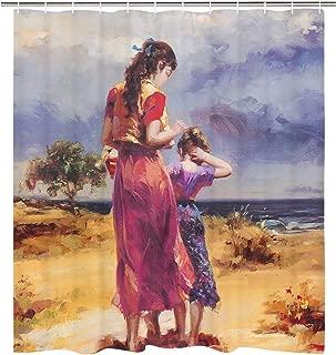 BLEUM CADE Oil Painting Shower Curtain Women and Girl Shower Curtain Sea Coast Shower Curtain Vintage Shower Curtain Waterproof ShowerCurtain with 12 Hooks