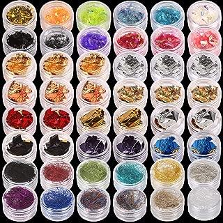 Teenitor 48 Boxes Nail Art Kit Including Nail Art Foil, Nail Art Glass Mirror Foil, Ice Mylar Shell Foil Slice, Japanese Nail Art Line Strips For 3D Nail Art Design 34 Colors