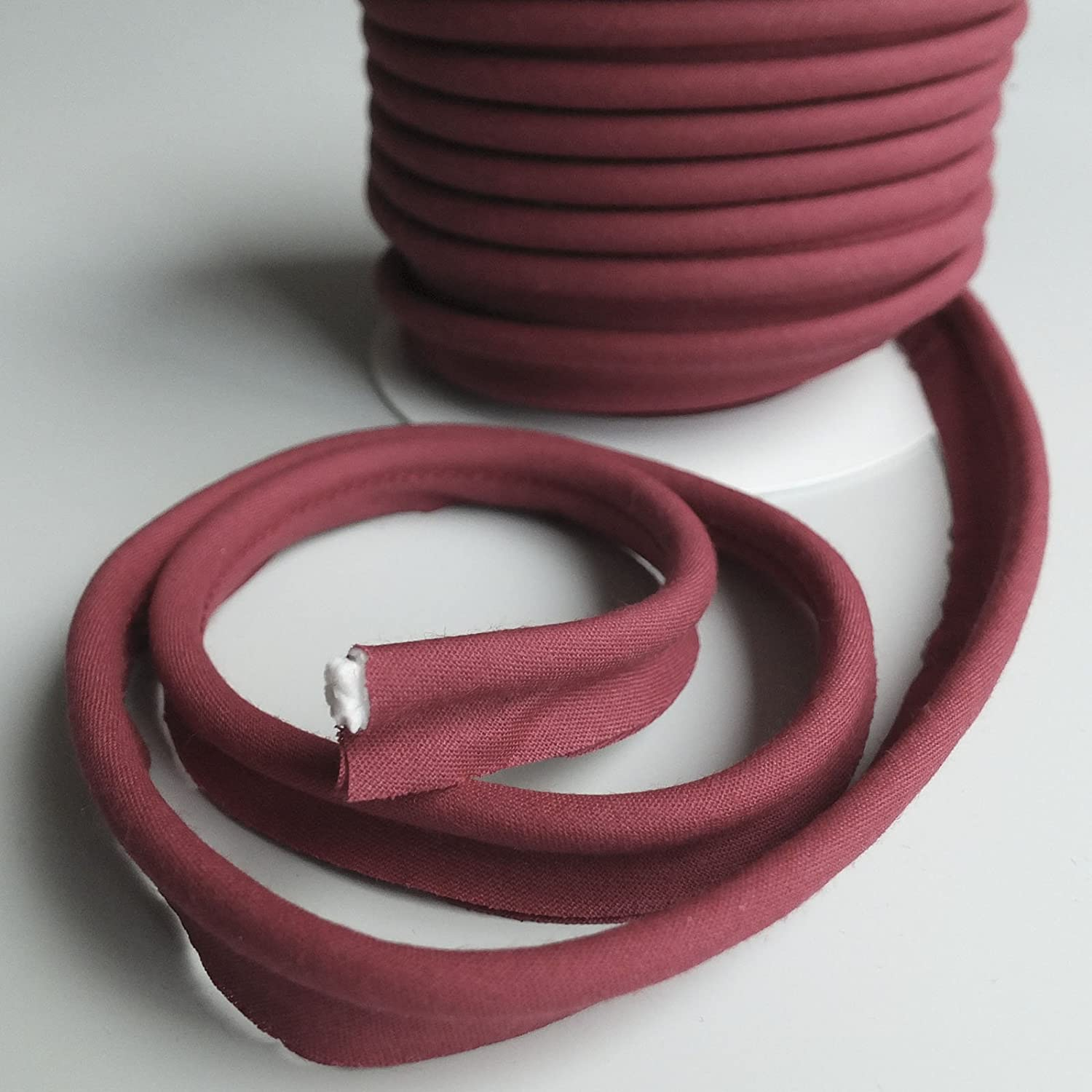 Many Colours Sold by The Metre Black Large flanged 7mm Insert Piping Cord Poly Cotton bias Cut