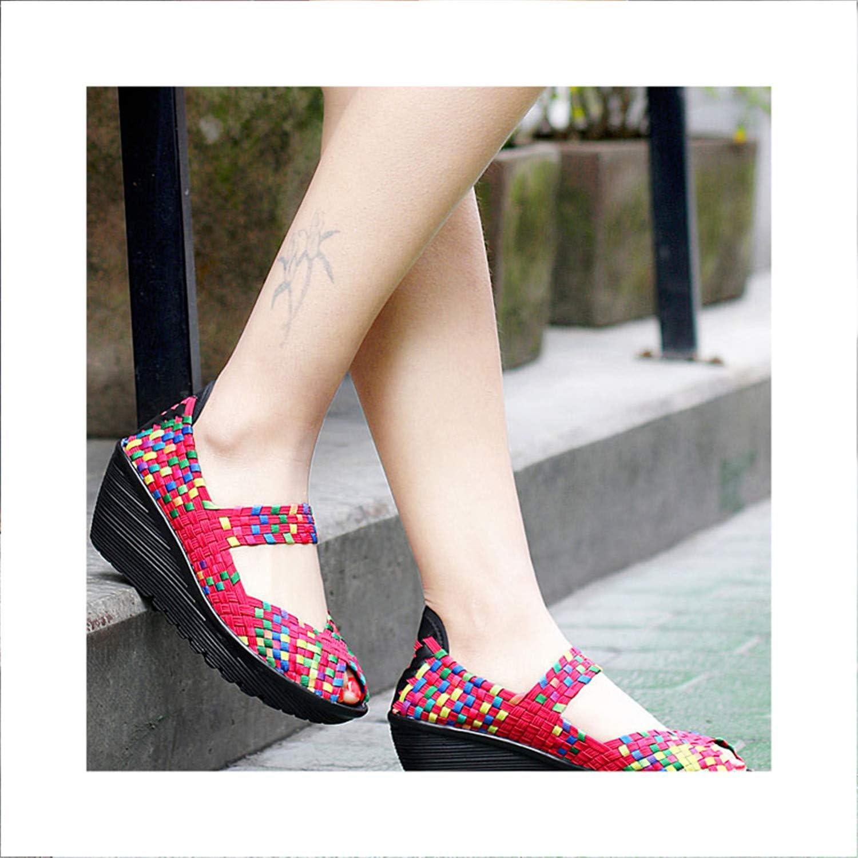 Ruddyin High Heels Women Sandals Platform Wedges shoes Woman Handmade Woven shoes Sandals