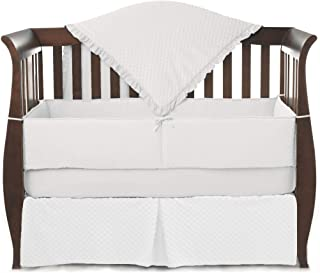 American Baby Company Heavenly Soft Minky Dot 4-Piece Crib Bedding Set, White, for Boys and Girls