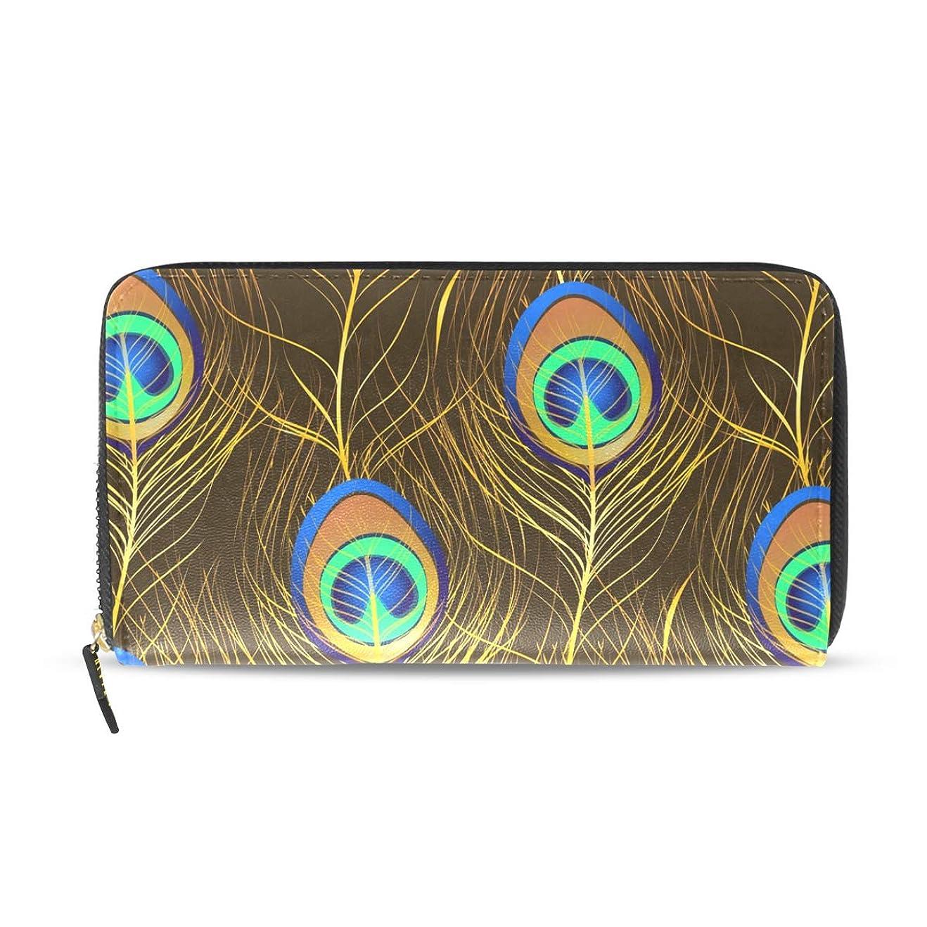カヌー変形するチョップマキク(MAKIKU) 財布 レディース 長財布 本革 大容量 孔雀柄 羽柄 プレゼント対応
