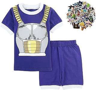 Dragon Ball Z Pajama Set Boys Toddler Kids 2 Piece Anime Goku Cotton PJ Shirt and Shorts with Free Dragon Ball Stickers