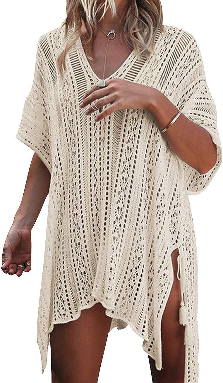 Vestido Ganchillo Playa Mujer Vestidos Pareos Playeros Kaftan Camisolas Caftanes Tunica Playa Piscina Ropa de Baño Vestido Playero Crochet Ropa de ...