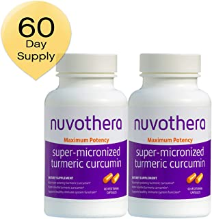 Nuvothera Super Micronized Turmeric Curcumin Supplement 60 Capsules (500 mg), 2 Count, Maximum Potency Whole Turmeric Root and Full Strength Curcumin-Natural Anti-Inflammatory, 2 Month Supply