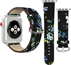 Apple Watch Band Replacement 38mm/42mm, Peony Patterned Leather Wristband, FreeDeal iWatch Bands