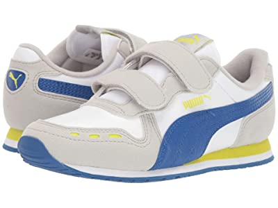 Puma Kids Cabana Racer SL Velcro (Little Kid) (PUMA White/Galaxy Blue/Gray Violet/Nrgy) Boys Shoes