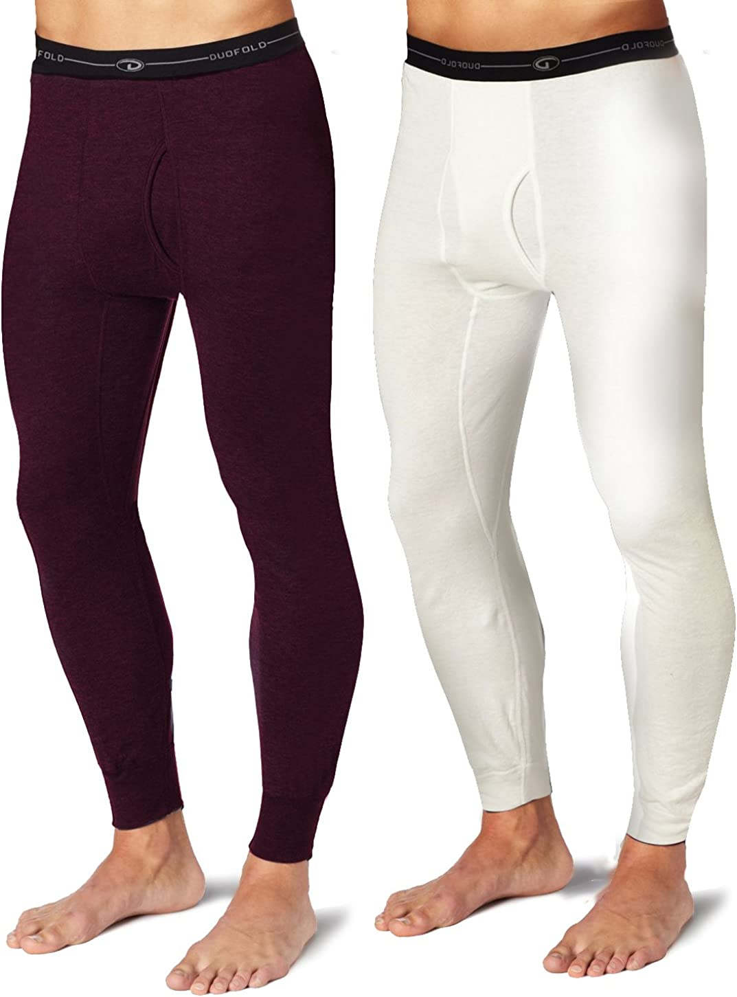 Duofold KMW2 Men's Mid Weight Wicking Thermal Pant 1 Bordeaux Red + 1 Winter White