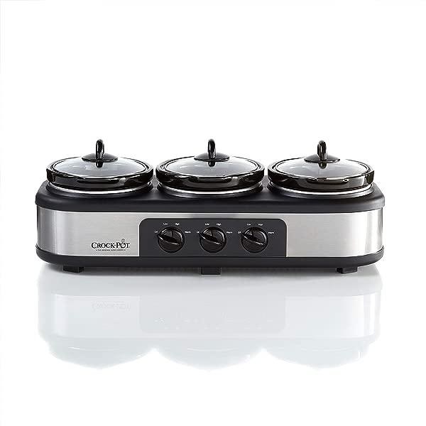 Crock Pot Stainless Steel Trio Cook Serve Slow Cooker Food Warmer