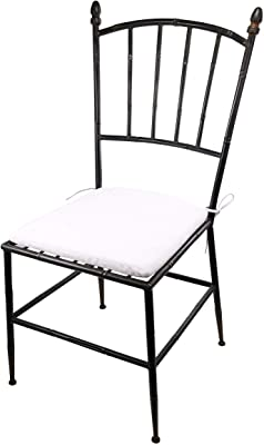 Benjara , Black and White Metal Chair with Slat Style Open Backrest
