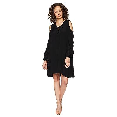 Hale Bob Lady Luxe Crepe Lace-Up Cold Shoulder Dress (Black) Women
