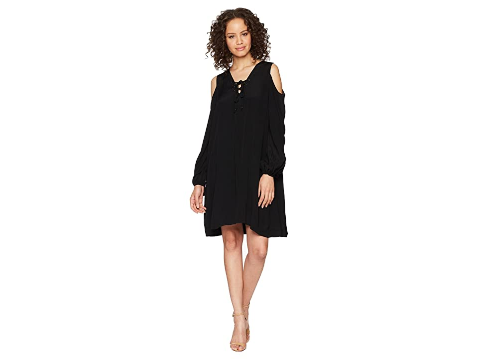Hale Bob Lady Luxe Crepe Lace-Up Cold Shoulder Dress (Black) Women