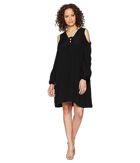 HALE BOB Lady Luxe Crepe Lace-Up Cold Shoulder Dress, Black