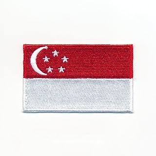 80 x 50 mm Singapur Flagge Republic of Singapore Flag Aufnäher Aufbügler 0943 X