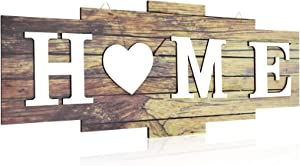 Home Signs for Home Decor, Wood Home Sign, Home Heart Rustic Wall Decor, Sweet Farmhouse Wooden Wall Sign Decoration Wood Letters Ornament for Bedroom, Living Room, Wedding Decor (Rustic Color)