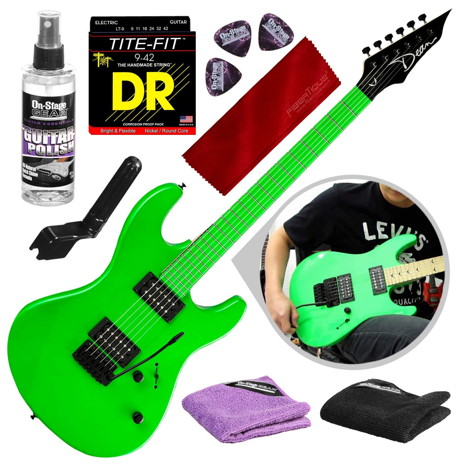 Cheap Dean Custom Zone 2 HB Solid Body Electric Guitar Fluorescent Green with Strings & Accessory Bundle Black Friday & Cyber Monday 2019