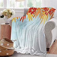 KFUTMD All Season Throw Blanket Sunny Background with Red Rowan Fruits on Branches Graphic Border Design Pale Blue Orange Red Dorm Bed Baby Cot Traveling Picnic W60 xL80