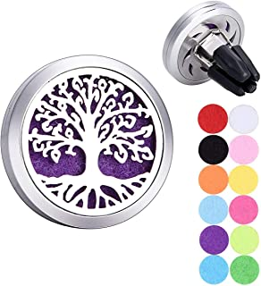 Tornado Tree of Life Car Air Freshener Aromatherapy Essential Oil Diffuser 316 Stainless Steel Hollow Locket with Vent Clip 12 Refill Pads
