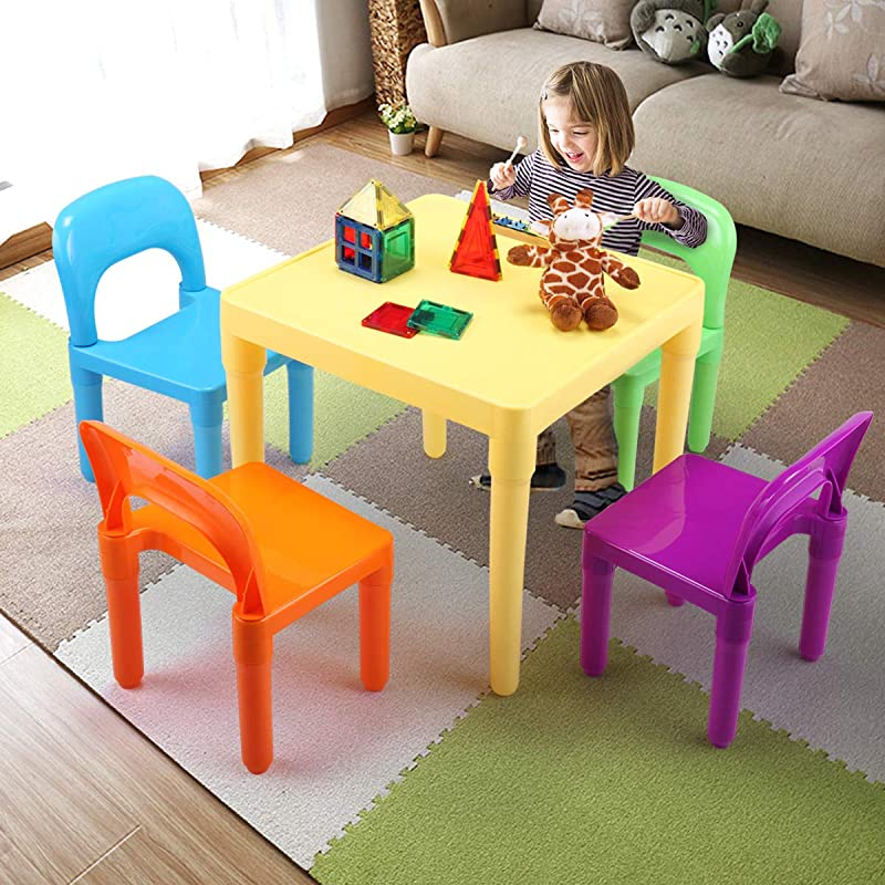 5 Piece Colorful Rainbow Kids Table And Chair Set Plastic Activity Play Seat Kids Furniture
