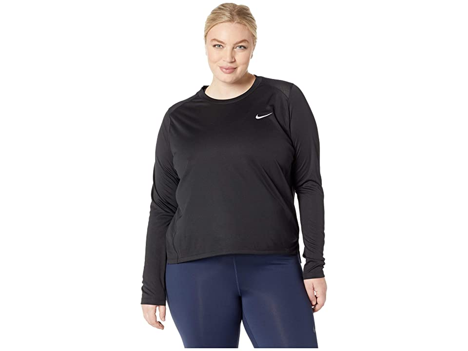 Nike Miler Top Long Sleeve (Sizes 1X-3X) (Black) Women