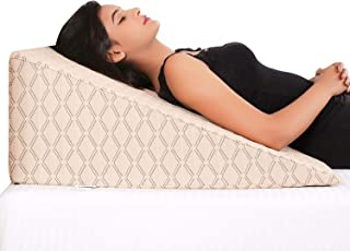 METRON Extra Large with 12   Height Wedge Pillow for sleeping   45 Degree Bed Raiser Helps in Acid Reflux Heartburn GERD H...