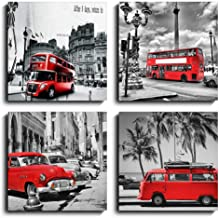 Black and White Wall Art Red London Bus Painting Print on Canvas for Modern Home Wall Decoration 4 Panels Cityscape Office Wall Decor Poster with Wooden Frame Ready to Hang