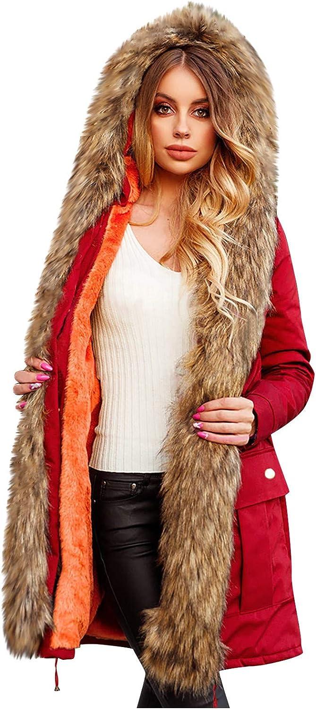 Hengshikeji Plus Size Womens Hooded Warm Winter Coats Faux Fur Lined Cotton Overwear Overcoat