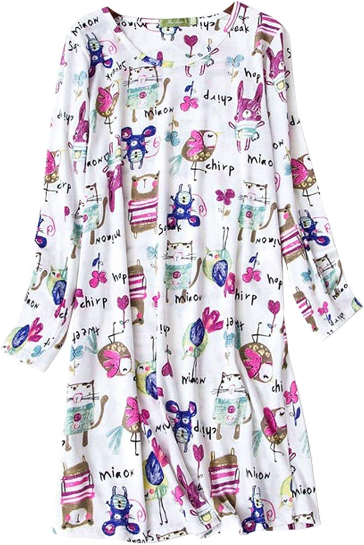 ASHER FASHION Women's Cotton Nightgown Long Sleeve Scoop Neck Sleepwear Soft Nightwear Top