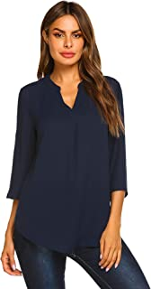 Womens Notch V Neck Chiffon Blouse Shirt Casual 3/4 Sleeve Office Tops