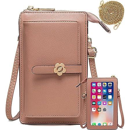 Handy Umhängetasche Geldbörse Damen Touchscreen Handtasche zum Umhängen Leder Schultertasche Klein Handy Tasche für iPhone 12/12 Pro/11/XR/Xs, Samsung Galaxy S21/S20/S10/S9, Handy bis zu 6.5'' (Rosa)